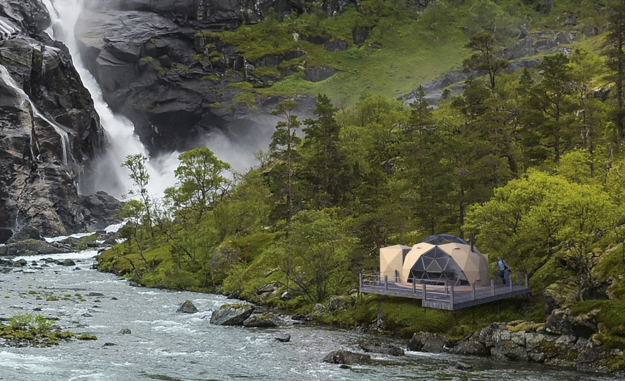 Arctic Dome domer for camp ved elv